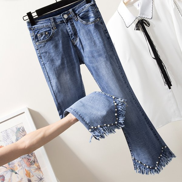 [EWQ] 2018 Autumn Winter Fashion New Full Length Light Wash Button Fly Embroidered Flares Patchwork Casual Denim Pants AC386