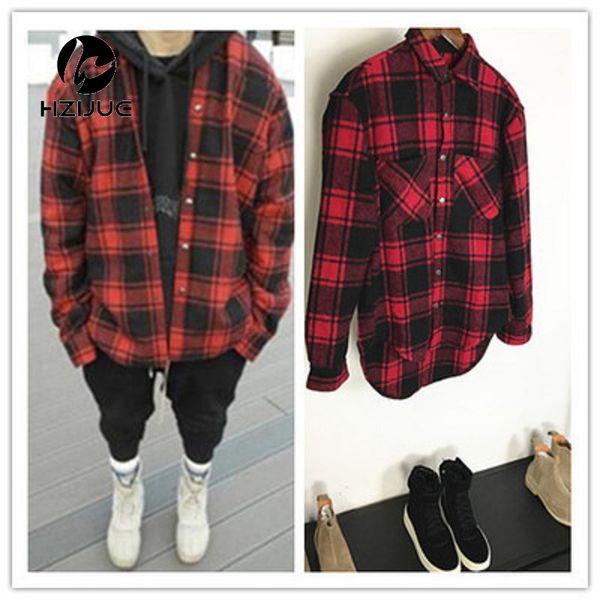 HZIJUE otoño invierno gruesa franela de manga larga camisa a cuadros hombres y mujeres circarc oversize sweep plaid low-high camisa hombre ee.uu. tamaño