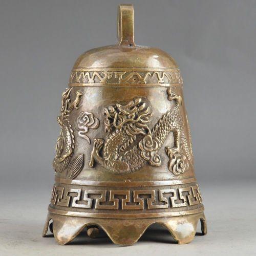 Prière Travail manuel Martelé Chinois En Laiton Vieux Dragon Embossment Bell Decor