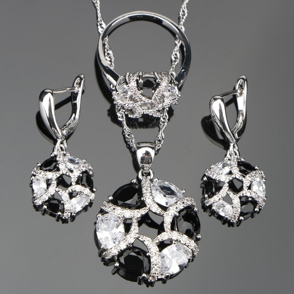 ewelry sets Wedding Silver 925 Costume Jewelry Sets For Women Earrings/Pendant/Necklace/Ring Set Black Stones White Zircon Jewelery Gift ...