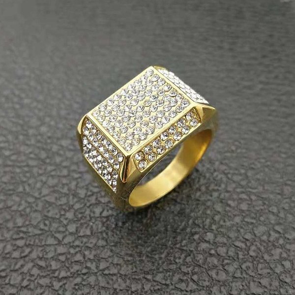 HIP Hop 7 bis 12 Micro Pave mit Zirkon Chunky Square Herren Ring Iced Out Bling Gold gefüllt dick Titan Ringe für Männer Schmuck