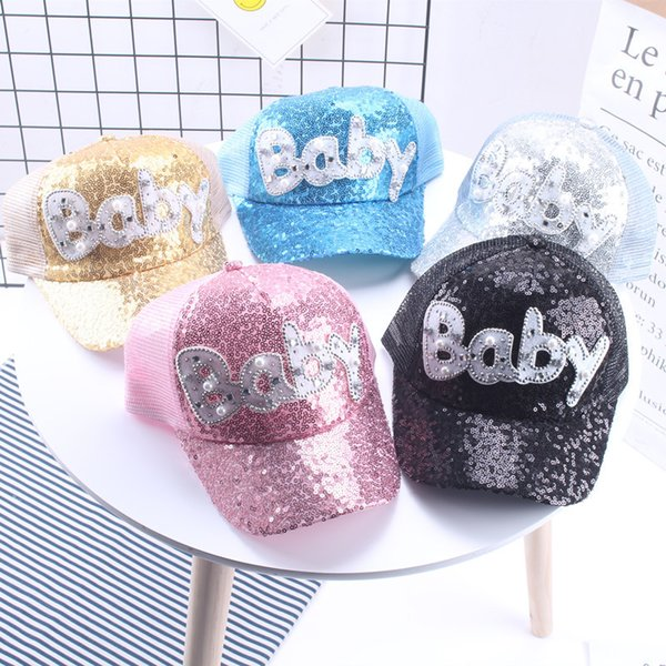 New Summer Fashion Children Hat Pearl Diamond Sequin Baseball Cap Parent-child For Peaked Adjustable Snapback Hat