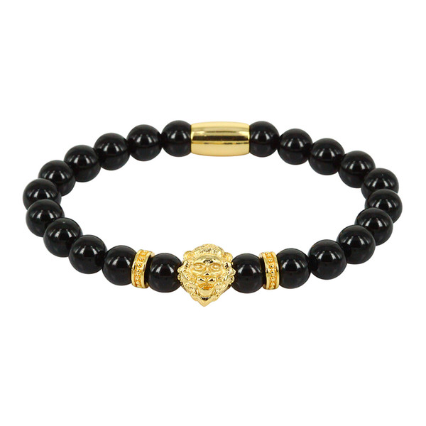 Bracelets For Man Natural Round Smooth Black Onyx Semi Precious Stone Beads With Lion Head Charm Spacer Standard