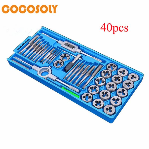 40pcs/set tap and die set M3~M12 Screw Thread Metric Plugs Taps & Tap wrench & Die wrench, hand screw taps Hand Threading