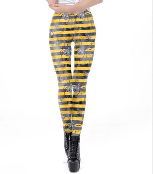 Women Halloween Skinny Leggings Striped Spider Print Tight Pants Costume Injured Blood Printed Funny Cosplay Full Length Pants
