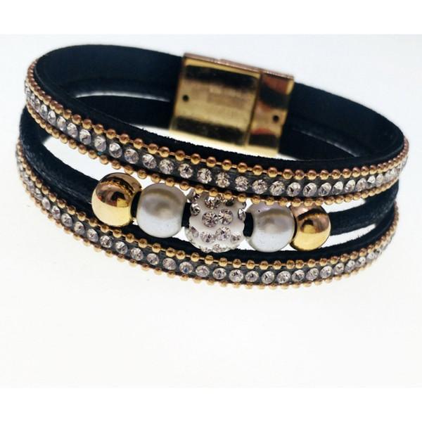 2018 Fashion Popular Multi-layer Korean Velvet Leather Magnetic Buckle Bracelet Pearl Biamond Bagnetic Buckle Bracelet Bangle
