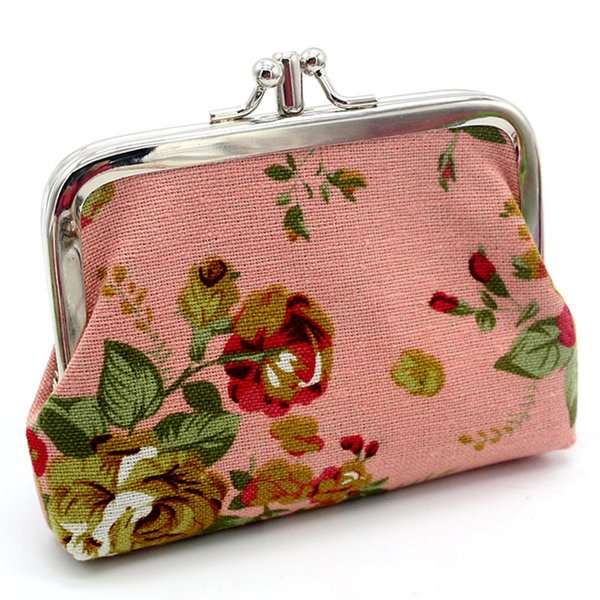 2017 Womens Retro Vintage Flower Small Wallet canvas coin purses zipper zero wallet child girl boy lady coin bag key packet