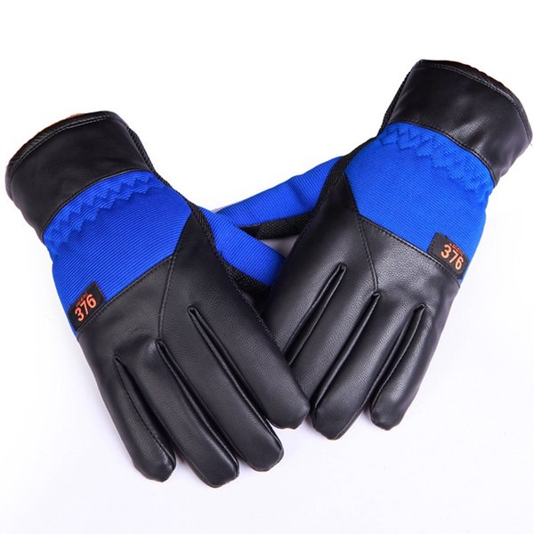 New Touch Screen PU Leather Men Male Winter Keep Warm Gloves Outdoor Non-slip Hiking Fishing Skiing Sports Gloves