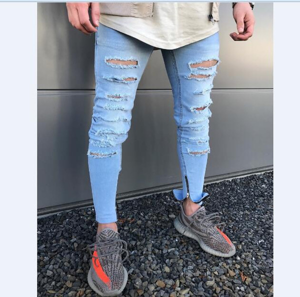 Wholesale free shipping Men New Hole Cut Skinny Pencil Pant Zipper On Button Side Ripped Blue Denim Jeans