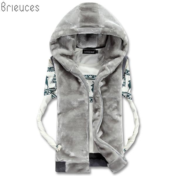 Brieuces 2018 новая весна осень рукавов искусственного меха Куртка для мужчин мода теплый с капюшоном мужской зимний жилет Жилет Мужские жилеты