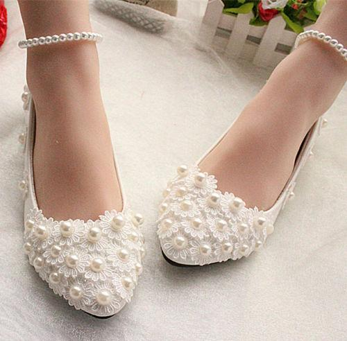 Dantel beyaz fildişi kristal Düğün ayakkabı Gelin flats düşük yüksek topuk pompa boyutu 5-10