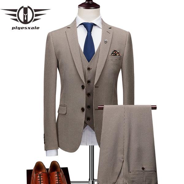 Plyesxale Classic Men Suits For Wedding Elegant 3 Piece Men's Formal Suits Set Grey Khaki Gentleman Mens Dress 2018 Q1