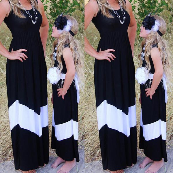 Mère Fille Femme Filles Col V élastique mini robe famille assorti vêtements