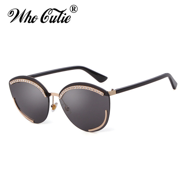 1d7216c7bc9a 2019 Diamond Cat Eye Sunglasses Brand Design Vintage Oversized Frameless  Frame Cateye Sun Glasses Shades Women