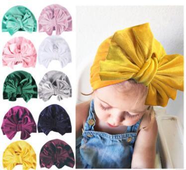 Nouveau-né chapeau européen et américain enfants chapeau bonnet de velours d'or couleur unie chapeaux bébé pullover pour 11 couleurs différentes