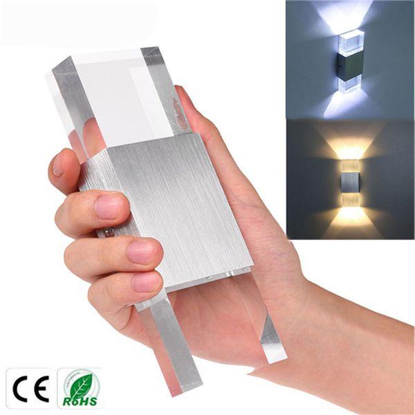 6 W Quadrado COB LEVOU Lâmpada de Parede Moderna AC85-265V Acrílico De Alumínio De Cristal Quarto Cama Cabeça de Iluminação Interior Decoração Ao Ar Livre