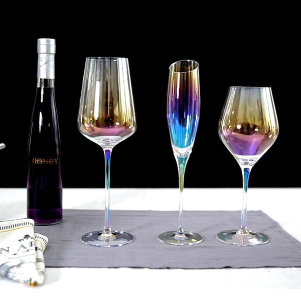 Nuovo bicchiere di vino arcobaleno Coppa Calice di cristallo Vino rosso Bicchieri di Champagne Bicchiere da vino Casa decorazione del partito di nozze Drinkware