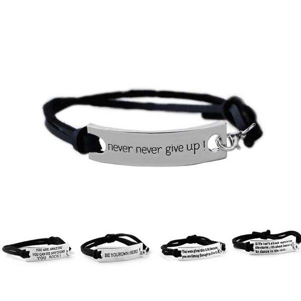 Zitat Sie sind erstaunlich, niemals niemals aufgeben Armband Brief Id Tag Armbänder Leder Manschetten für Frauen Kinder inspirierende Schmuck Drop Shipping