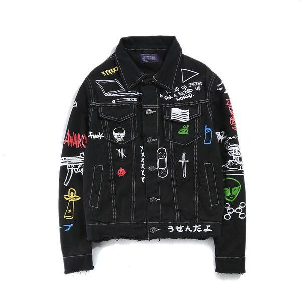 Denim Veste Patchwork Ruban Or Cowboy Punk Rock Hommes Veste High Street Mode Outwear Hommes Manteau En Gros Automne Patchwork 2XL