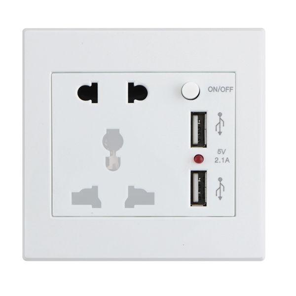 Universal 110-250V Power Wall Socket Dual USB 5V 2.1A Charger AC / DC Adapter US UK EU