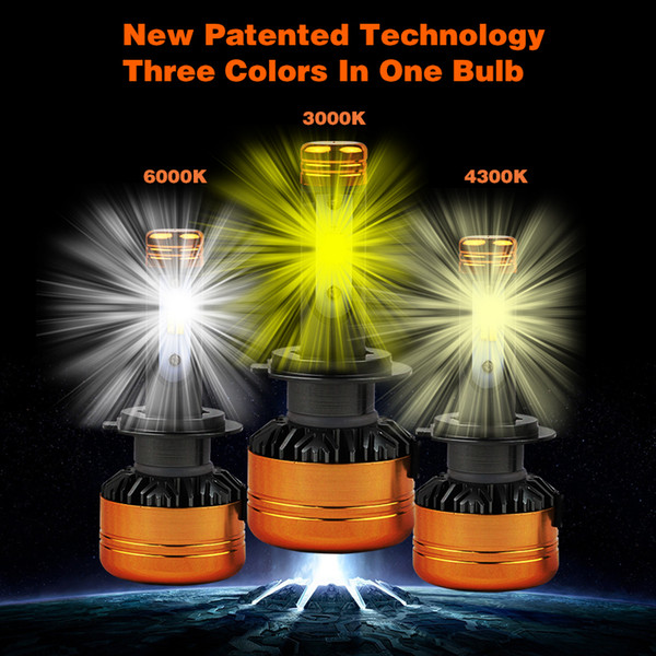PAMPSEE 2PCS Car Tricolor 3Color LED Headlight Z5 H1 H4 H7 H11 100W 5800LM Flip Chips 3000K 4300K 6000K Switchback LED Bulbs