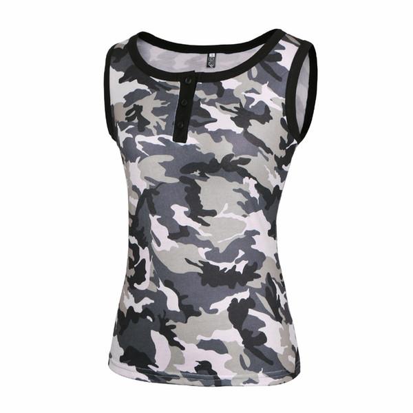 Sexy Camouflage botton pescoço V O t shirt Mulheres verão feminino camisetas brilhante camo sem mangas colete estilo top impressão