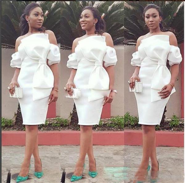 2018 fuera del hombro vestidos de baile africano vaina vestido negro pequeño vestido de coctel del arco grande del satén hasta la rodilla desgaste corto de la tarde formal