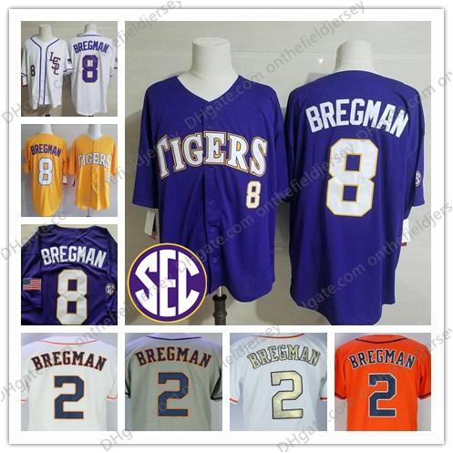 14a7f3ffef5 NCAA LSU Tigers #8 Alex Bregman Purple Gold White Yellow College Baseball  Jersey Houston 2 Bregman Orange Gray Gold Stitched Champions S-3XL
