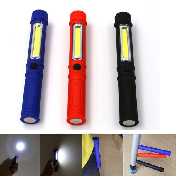 Mini COB LED Multifunction Working Inspection light Portable Maintenance Hand Torch lamps Belt Magnet LED Flashlight 3A Battery Operation
