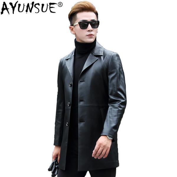 AYUNSUE 2018 Autumn Genuine Leather Jacket Men Sheepskin Coat Korean Leather Blazer for Men long chaqueta cuero hombre KJ1260