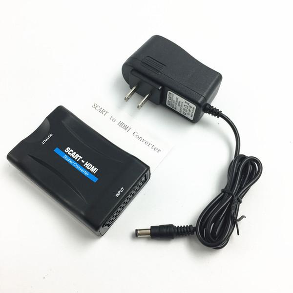 UE EUA REINO UNIDO AU Plug AC Power Adapter 1080 P / 720 P Scart Para HDMI MHL Conversor de Áudio e Vídeo Adaptador Para TV HD Sky Box STB DVD