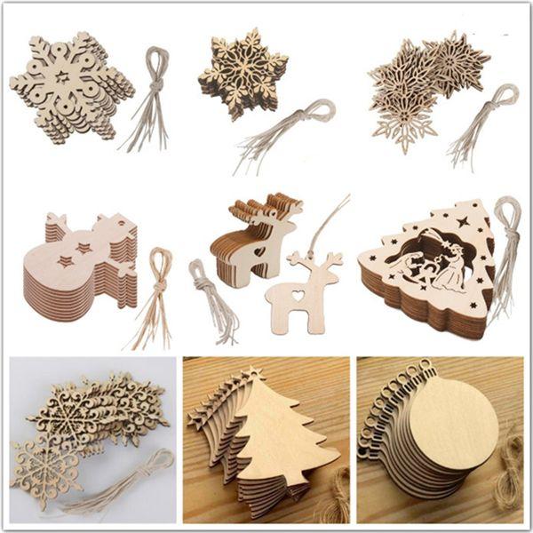 Decorativa de madeira pingente de árvore de natal diy festival de artesanato decoração pendurado ornamento esculpida floco de neve amor veados boneco de neve cabide acessório