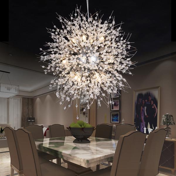 Lampadario di cristallo moderno del dente di leone LED Lampadari di cristallo Illuminazione Lampada a sospensione globo palla per sala da pranzo camera da letto apparecchio di illuminazione soggiorno