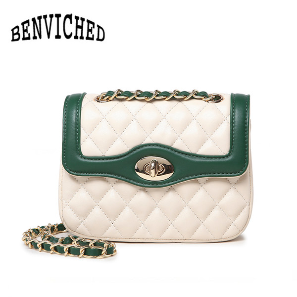 BENVICHED 2018 роскошные сумки женские сумки дизайнер дамы сумки мода высокого качества PU кожаный ChainBag L063