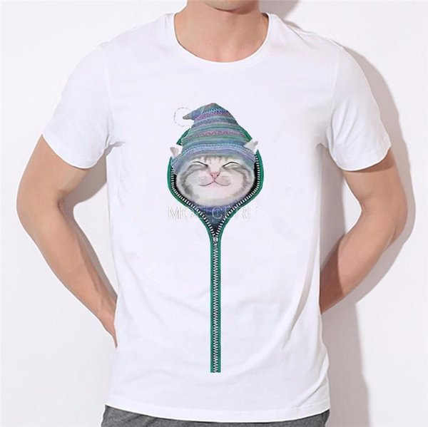 496a5ad29 Hiding inside zipper cat boy T-shirt Super cute little cat t shirt men 3D