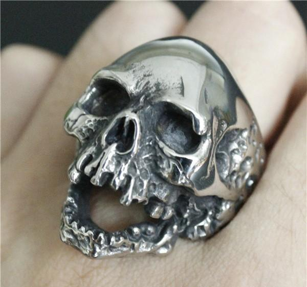 1pc Size 7-15 New Design Men Boys Huge Skull Ring 316L Stainless Steel Popular Fashion Biker Ghost Skull Ring KKA1956