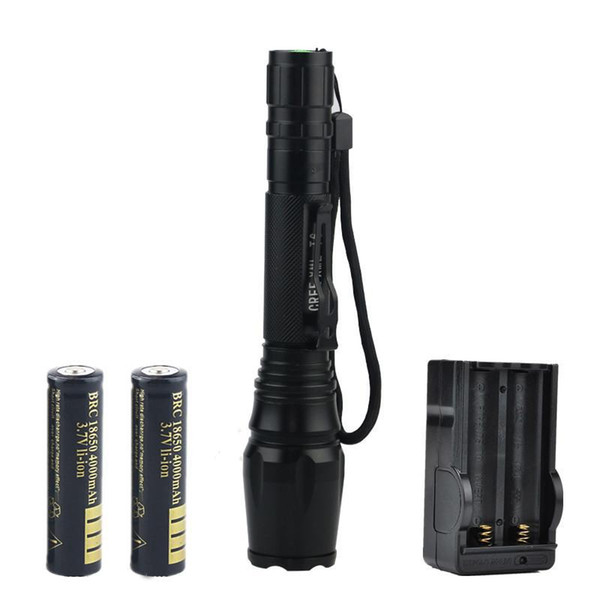High Quality 2000 Lumens CREE XML T6 Torch Waterproof Zoom LED Flashlight With 2 x 18650 Battery + Charger & Gift Boxes
