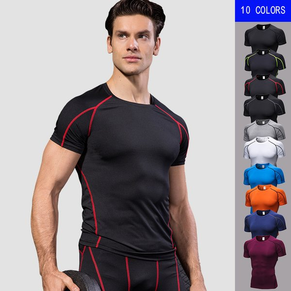 Mens Sportswear Quick Dry Fitness Tight Compression shirts Running T shirts Men Solid Short Sleeve Gym Sport Top Tee Sport Shirt