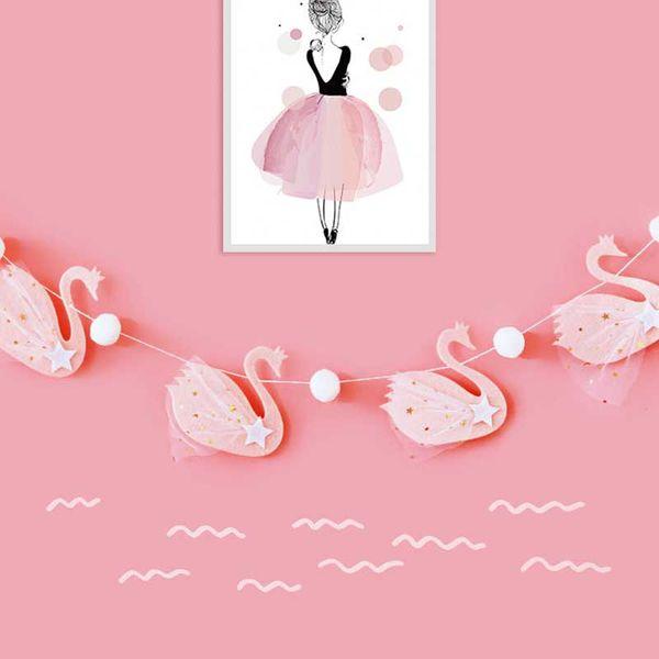 Lussureggiante Swan Bunting Pink White Decorazioni di nozze per la casa Garland Birthday Party Supplies Banner Baby Shower Girls Decor
