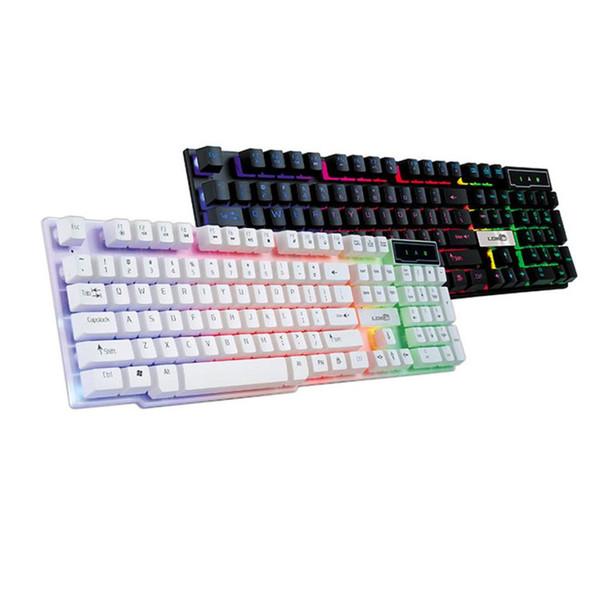 Clavier de jeu coloré Crack LED rétro-éclairé USB filaire PC Rainbow Gaming Keyboard JA08 Drop Shipping