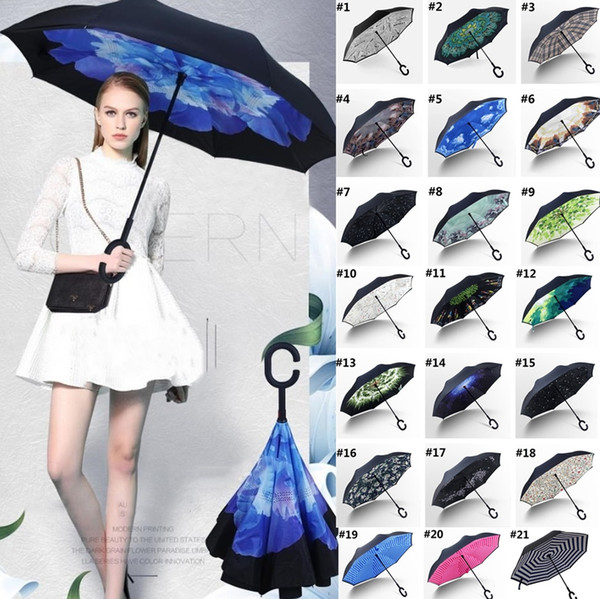 top popular New Folding Reverse Windproof Umbrella 62 Styles Double Layer Inverted Long Handle Windproof Rain Car Umbrellas C Handle Umbrellas T2I384 2021