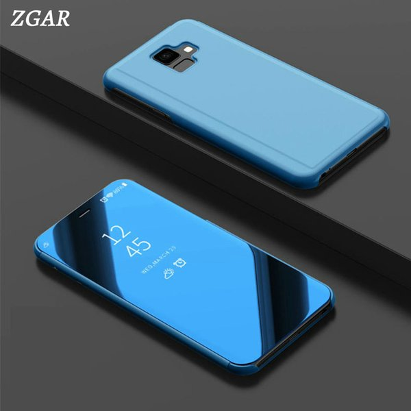 Mirror Case for Samsung Galaxy J6 Prime J6 Plus J6Prime J6Plus J6+ Phone Bags Case ZGAR Hard Transparent Smart Flip Covers Coque