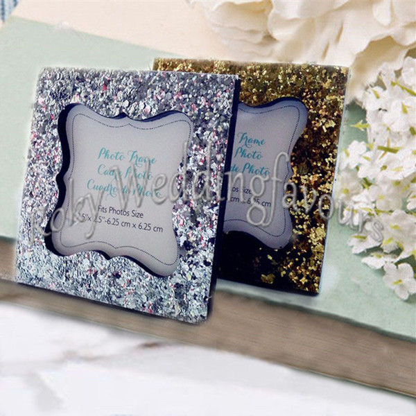 Free shipment 30PCS Gold/Silver Resin Glitter Mini Photo Frame Place Card Holder Wedding Favors Party Decor Event Gift Anniversary Supplies