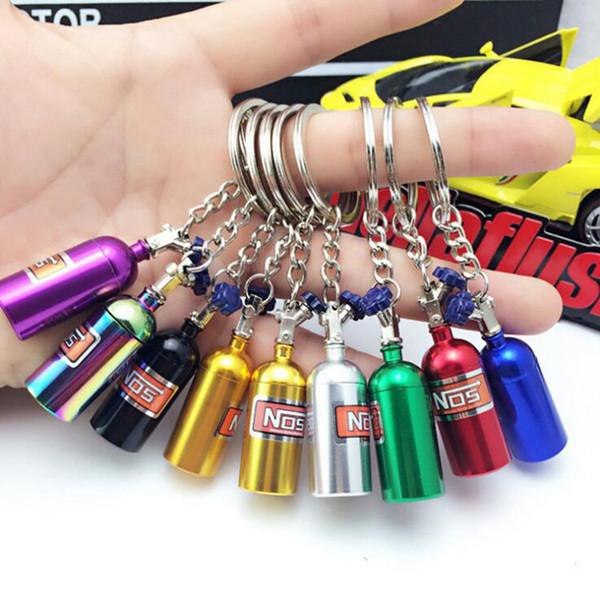 NOS Nitrogen Gas Bottle Turbine Keychain 7 Colors Keyring Key Chain Ring Creative Keyfob Novelty Items Gifts OOA4891