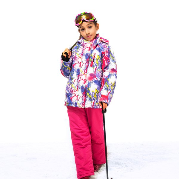 2018 Outdoor Winter Children Ski Suit Skiing Jackets Set Girls Sports Waterproof Suit Kids Thickening Warm Set Jackets + Pants
