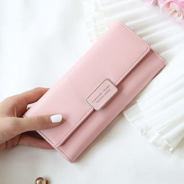 фабрика Оптовая 2018 новый женский кошелек Amazon RFID кошелек корейский пряжки multi-карты длинные мобильный телефон сумки карманные деньги сумки