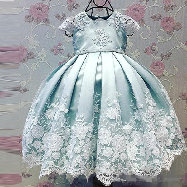 2018 New Lovely Flower Girls' Dresses Cap Sleeve with Lace Embroidery mint blue Satin Kids Pageant toddler infant Party wedding dress Wear