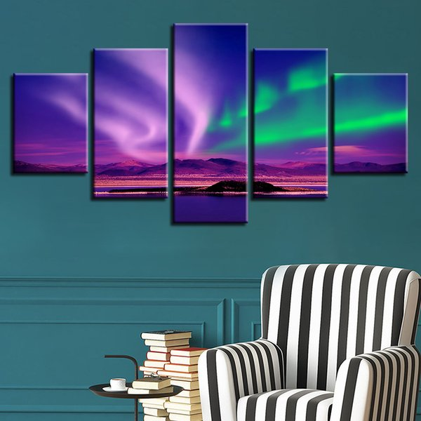 Wall Art Frame Home Decor 5 Pieces Beautiful Aurora Lake Canvas Paintings Pictures Modular Living Room HD Printed Scenery Poster
