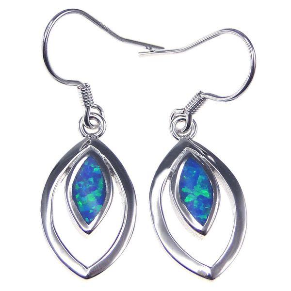 Fashion jewelry 925 silver stud Earrings Blue Opal rhodium plating Social gatherings elegant gifts DR00562E-K5-3.6g Free Shipping