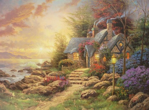 Seaside Hideaway I by Thomas Kinkade High Quality Hand-painted & HD Print Landscape Art Oil Painting On Canvas Home Deco Wall Art l176